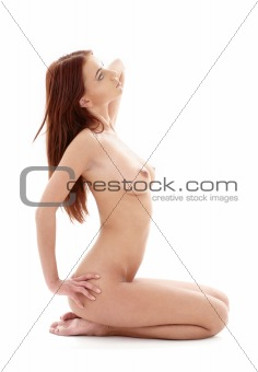 kneeled healthy naked redhead