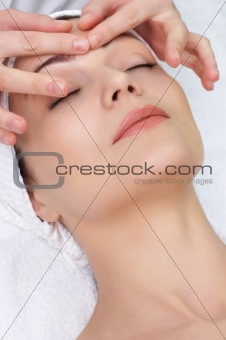 beauty saln series. facial massage