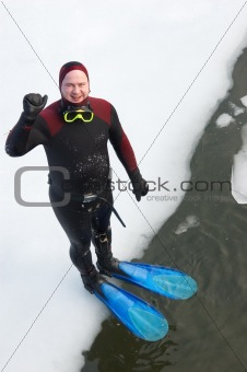 diver on ice