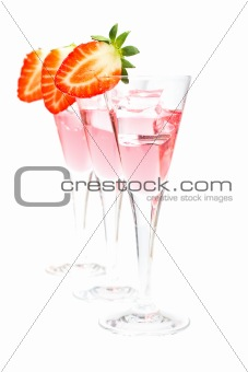 Three glasses of strawberry cocktail