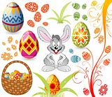 Easter set with eggs, rabbit and basket