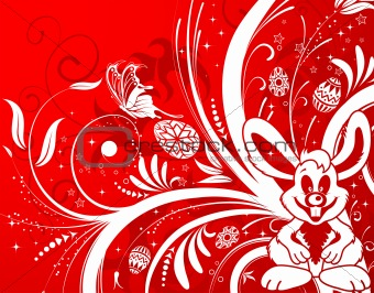 Easter background with eggs, rabbit and flower
