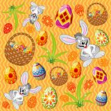 Easter pattern with eggs, rabbit and basket
