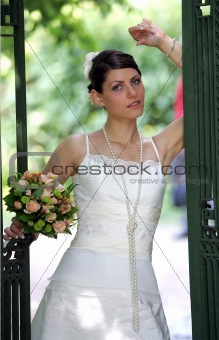 Pretty bride in white