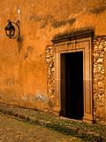 Yellow Brown Adobe Wall and Door Plus Lantern