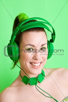Happy music listener