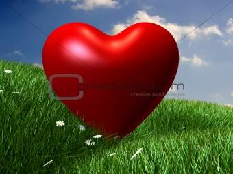 green hills with red heart