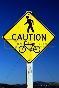 Caution - Pedestrian and Bicycle Traffic sign