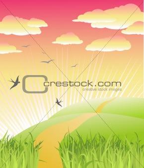 beautiful morning / nature / vector illustration