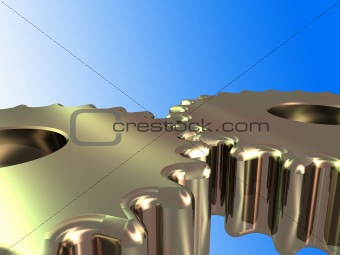 2 metal cogs isolated with clipping path