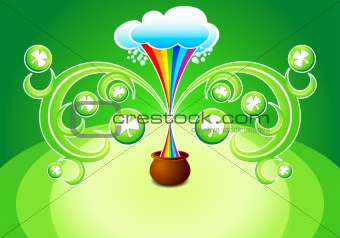 rainbow pouring magic pot at St.Patrick&#39;s day