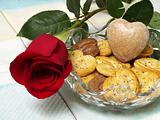 cookies heart and rose