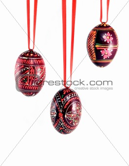 Three Easter colored eggs