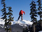 Snowboarder In Red Coat