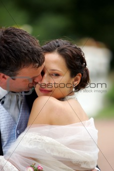 Bride in white dress with groom