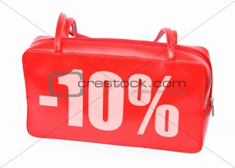 red leather handbag with -10% sign
