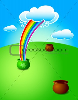 rainbow pouring magic pot at St.Patrick's day