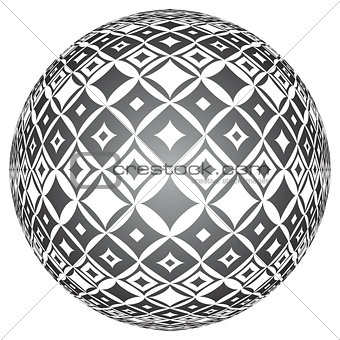 Tiled spherical surface. Circle 3D shape.