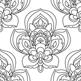 Vector Seamless Monochrome Ornate Pattern. Hand Drawn Mandala Texture, Vintage Indian Style outline