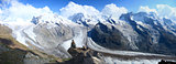 Panorama of glaciers at Gornergrat in Switzerland