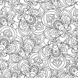 Vector Seamless Monochrome Ornate Pattern for coloring book. Hand Drawn Mandala Texture, Vintage Indian Style