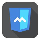 vector web development shield sign html5 javascript M symbol icon on grey badge with long shadow