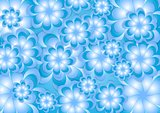 Abstract blue summer flowers vector background