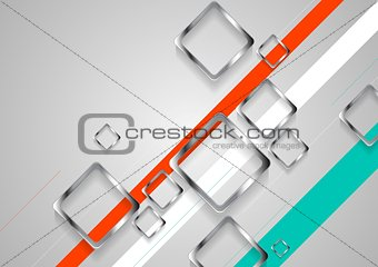 Corporate brochure design with metallic squares
