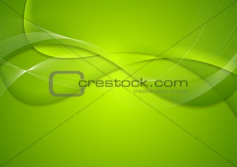 Abstract green wavy bright background