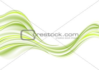 Green smooth waves on white background
