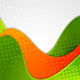 Abstract grunge green orange wavy background