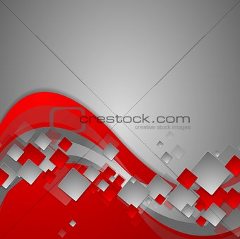 Bright red wavy tech abstract background