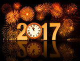 2017 new year fireworks with clock face