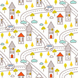 Outline countryside seamless pattern.