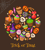 Trick or Treat. Traditional sweets and candies for holiday Halloween. Halloween candies isolated on background. Retro cartoon style vector illustration.