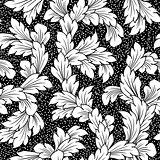 seamless baroque leaves black floral background