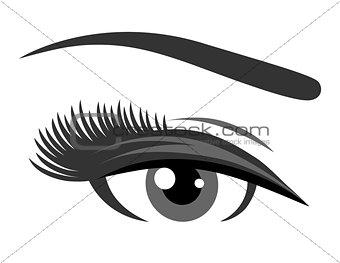 grey eye with long eyelashes