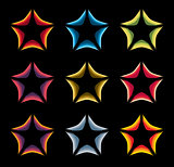 Isolated abstract colorful stars contour logo set on the black baackground. Rating element logotypes collection. Celebrities symbol. Decorative signs. Vector illustration.