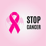 Isolated crimson color ribbon on the pink background logo. Against cancer logotype. Stop disease symbol. International worldwide breast  week. Medical sign. Earth image. Vector illustration.