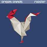 Vector origami isolated animal. Rooster.