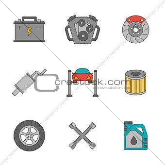 Auto service flat line icons