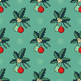 Vector seamless pattern with Christmas decorations