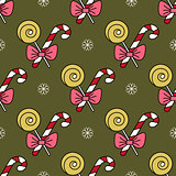 Vector seamless pattern with Christmas candy canes