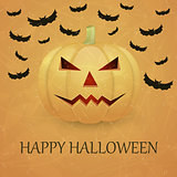 Vintage Halloween background with pumpkin.
