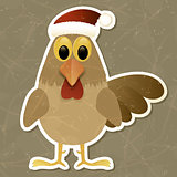 Rooster in Santa hat. Vintage background.