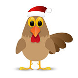 Rooster in Santa hat isolated on white background. Vector illustration.