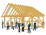 House construction with carpenter and craftsmen