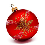 Perfec red christmas ball isolated