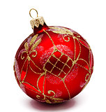 Perfect red christmas ball isolated