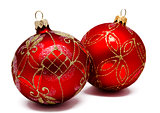 Two perfect red christmas balls isolated